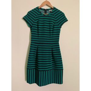 Banana Republic Black and Green Striped Dress
